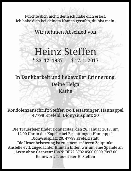 Anzeige für Heinz Steffen