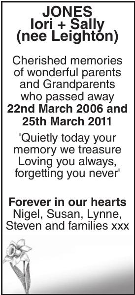 Memorial notice for JONES Iori