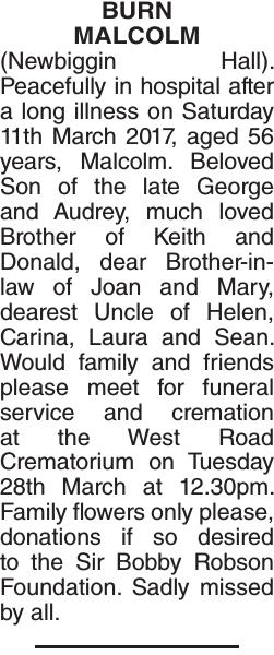 Obituary notice for BURN MALCOLM