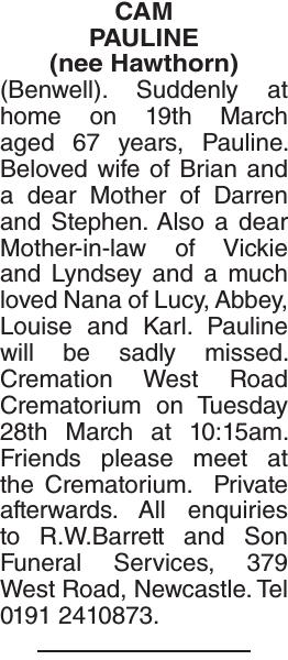 Obituary notice for CAM PAULINE