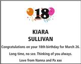 Birthday notice for KIARA SULLIVAN