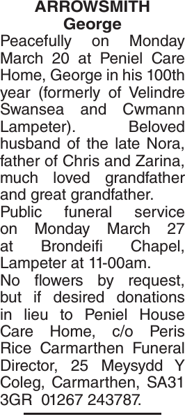 Obituary notice for ARROWSMITH George