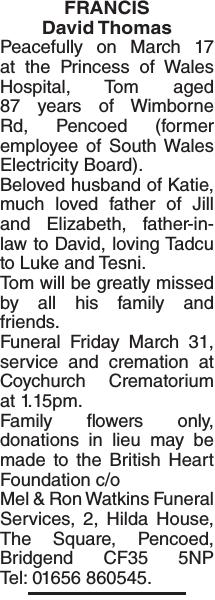 Obituary notice for FRANCIS David
