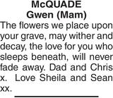 Birthday memorial notice for Mc QUADE Gwen