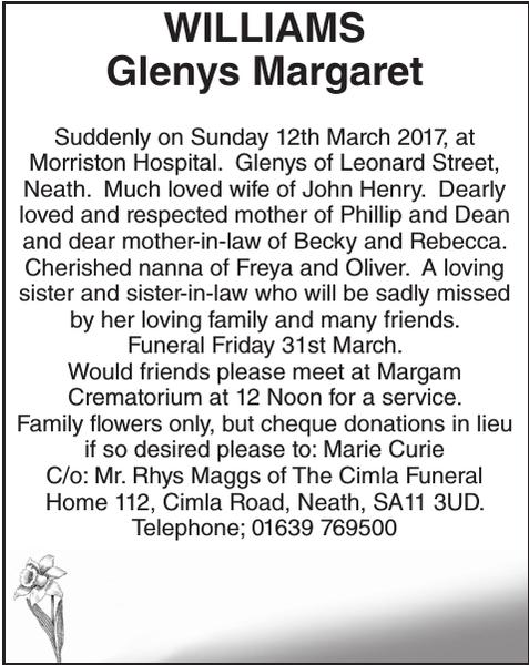 Obituary notice for WILLIAMS Glenys