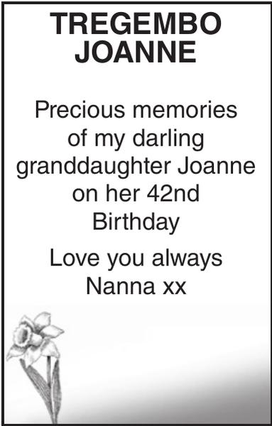 Birthday memorial notice for TREGEMBO JOANNE