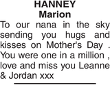 Mother's Day Memorial notice for HANNEY Marion
