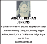 Birthday notice for ABIGAIL BETHAN