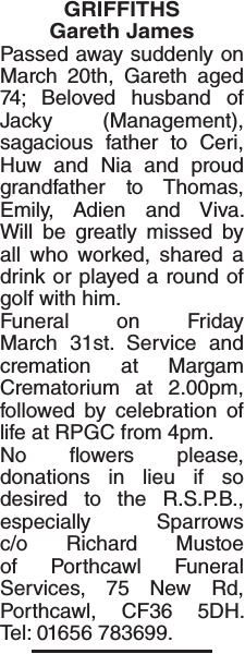 Obituary notice for GRIFFITHS Gareth