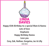 Birthday notice for LINDA DAVIES