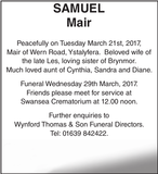 Obituary notice for SAMUEL Mair