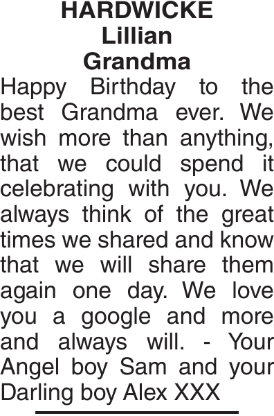 Birthday memorial notice for HARDWICKE Lillian