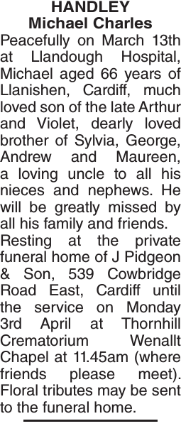 Obituary notice for HANDLEY Michael