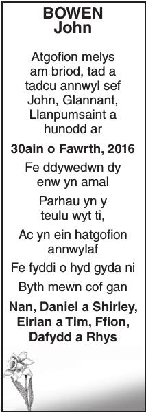 Memorial notice for BOWEN John