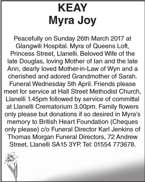 Obituary notice for KEAY Myra