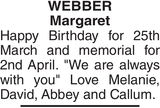Birthday memorial notice for WEBBER Margaret