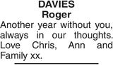 Memorial notice for DAVIES Roger