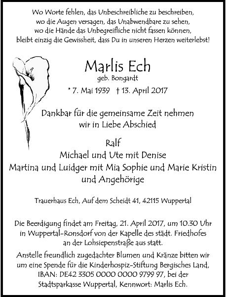 Marlis Ech : Traueranzeige