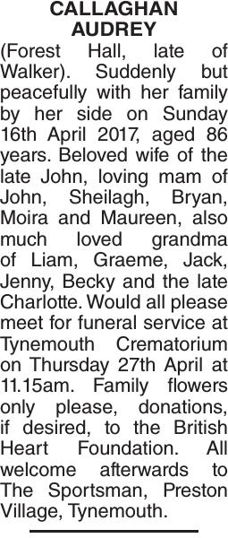 CALLAGHAN AUDREY : Obituary