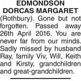 EDMONDSON DORCAS : Memorial