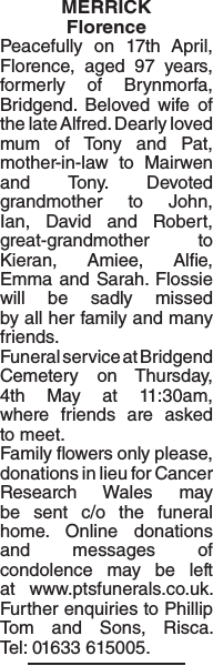 Obituary notice for MERRICK Florence