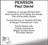 Obituary notice for PEARSON Paul