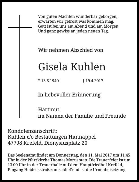 Gisela Kuhlen : Traueranzeige