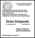 Dieter Schipanski : Danksagung