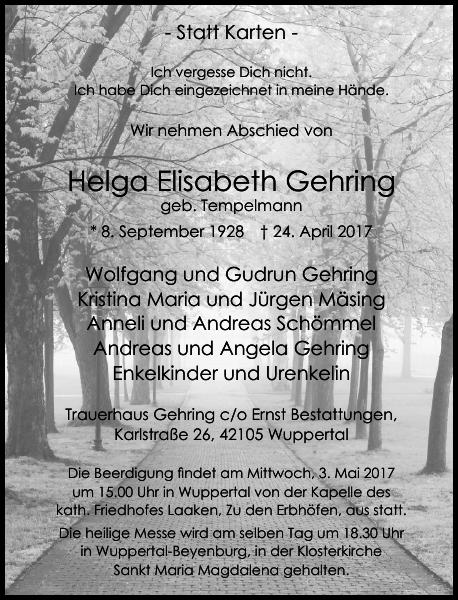 Helga Elisabeth Gehring : Traueranzeige