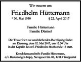 Friedhelm Hüttemann : Traueranzeige