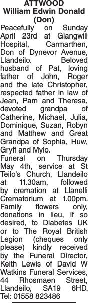 Obituary notice for ATTWOOD William