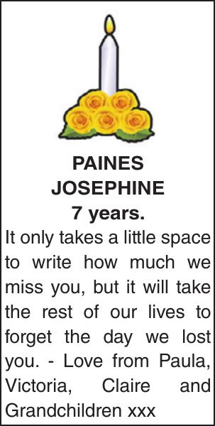 Memorial notice for PAINES JOSEPHINE