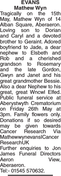 Obituary notice for EVANS Mathew